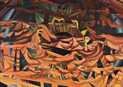 """הרים סמויות מהעין,   אקריליק על קנווס, 100x100 ס""""מ, 1998."""