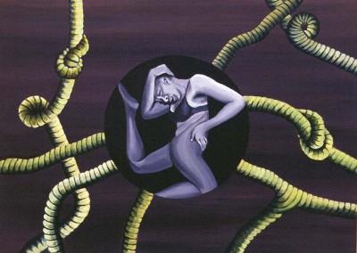 """Silueta , אקריליק על קנווס, 90x100 ס""""מ, 1996."""