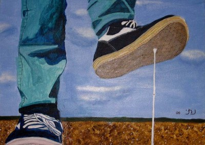 """נתי שיינלנד, """"נעליים"""", אקריליק על בד, 50*50 ס""""מ"""