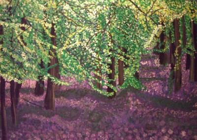 """שרה בוגן, """"יער בסגול"""", אקריליק על קנווס, 50*70 ס""""מ"""